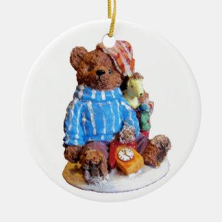 Sleepy Pajama Teddy Bear with Toys Ceramic Ornament