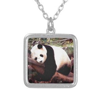 Sleepy Panda Silver Plated Necklace