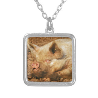 Sleepy Pig Square Pendant Necklace