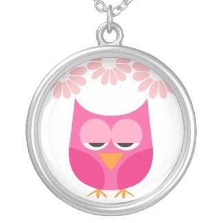 Sleepy Pink Owl and Flowers Custom Necklace