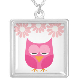 Sleepy Pink Owl and Flowers Square Pendant Necklace