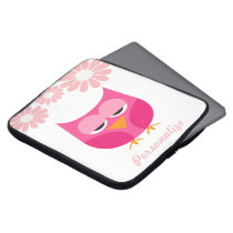 Sleepy Pink Owl and Flowers Personalized Computer Sleeve