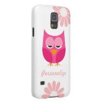 Sleepy Pink Owl and Flowers Personalized Galaxy S5 Case
