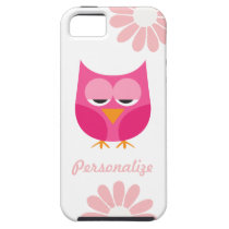Sleepy Pink Owl and Flowers Personalized iPhone SE/5/5s Case