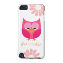Sleepy Pink Owl and Flowers Personalized iPod Touch 5G Cover