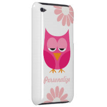 Sleepy Pink Owl and Flowers Personalized iPod Touch Case