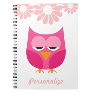 Sleepy Pink Owl and Flowers Personalized Notebook