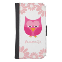 Sleepy Pink Owl and Flowers Personalized Samsung S4 Wallet Case