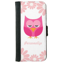Sleepy Pink Owl and Flowers Personalized Wallet Phone Case For iPhone 6/6s