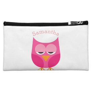 Sleepy Pink Owl Personalized Cosmetics Bags