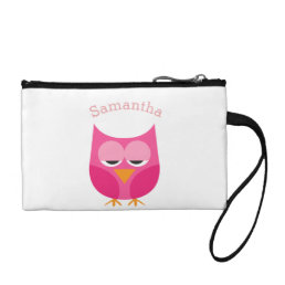 Sleepy Pink Owl Personalized Coin Purse
