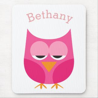 Sleepy Pink Owl Personalized Mousepad