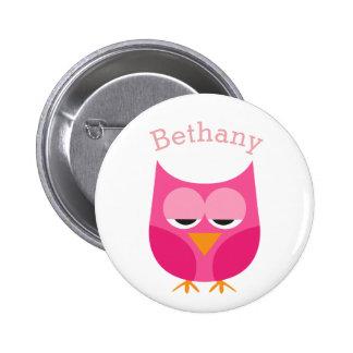 Sleepy Pink Owl Personalized Pinback Button