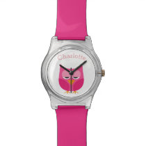 Sleepy Pink Owl Personalized Wrist Watch
