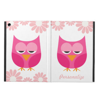 Sleepy Pink Owls and Flowers Personalized iPad Air Cover