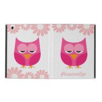 Sleepy Pink Owls and Flowers Personalized iPad Folio Case