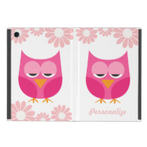 Sleepy Pink Owls and Flowers Personalized iPad Mini Case