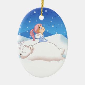 Sleepy Polar Bear Christmas ornament