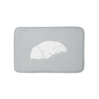Sleepy Polar Bear Gray Bath Mats