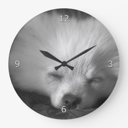 Sleepy Pomeranian Puppy Large Clock