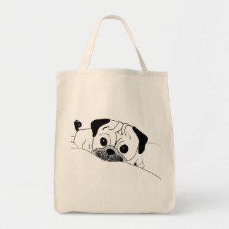 Sleepy Pug Grocery Tote Tote Bags