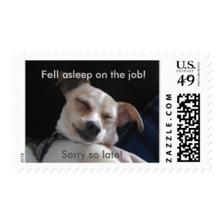 Sleepy Puppy Equals Late Mail Stamps
