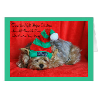 Sleepy Puppy Wearing Elf Hat Greeting Card