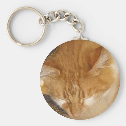 Sleepy Red Cat is finally REALLY sleeping Keychain
