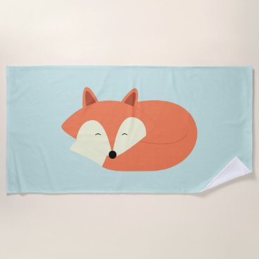 Beach Themed Sleepy Red Fox Beach Towel