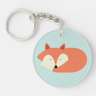 Sleepy Red Fox Keychain