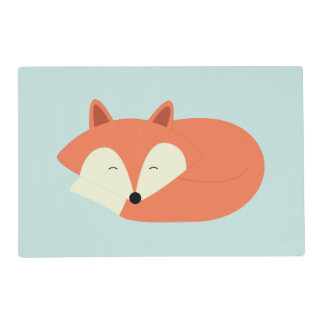 Sleepy Red Fox Laminated Placemat