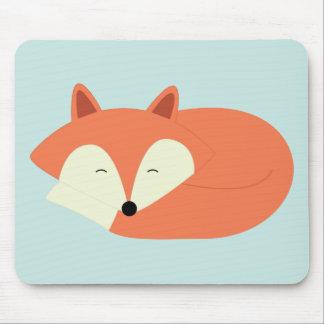 Sleepy Red Fox Mouse Pad