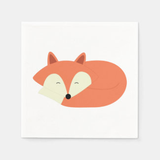 Sleepy Red Fox Paper Napkin
