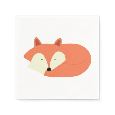 heartlocked Sleepy Red Fox Paper Napkin