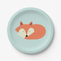 Sleepy Red Fox Paper Plate
