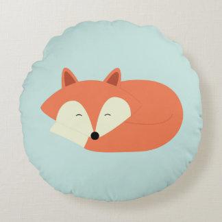 Sleepy Red Fox Round Pillow