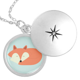 Sleepy Red Fox Silver Plated Necklace