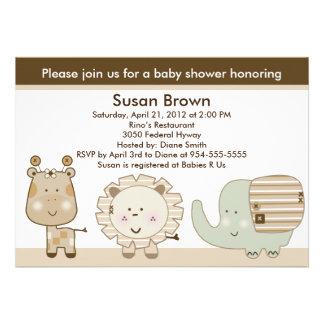Sleepy Safari Animals Baby Shower Invitation