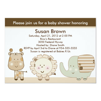 Sleepy Safari Animals Baby Shower Invitation