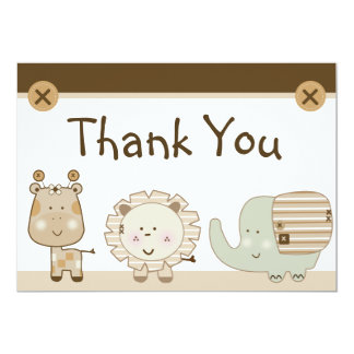 Sleepy Safari Animals Baby Shower Thank You Card