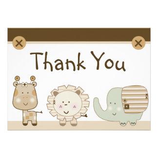 Sleepy Safari Animals Baby Shower Thank You Card Announcement