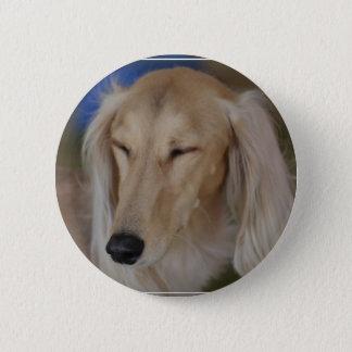 Sleepy Saluki Dog Button