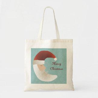 Sleepy Santa Half Moon Christmas Tote Bag