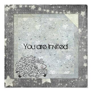 Sleepy Sheep Baby Shower 5.25x5.25 Square Paper Invitation Card