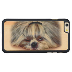 Carved iPhone 6 Plus Slim Wood Case with Shih Tzu Phone Cases design