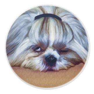 Sleepy Shih Tzu Dog Ceramic Knob