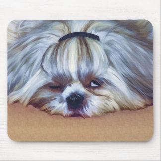Sleepy Shih Tzu Dog Mouse Pad