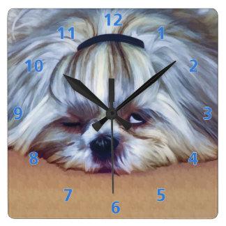 Sleepy Shih Tzu Dog Square Wall Clock