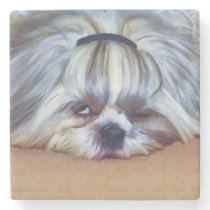 Sleepy Shih Tzu Dog Stone Coaster