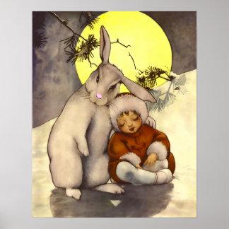 Sleepy Small Child with Bunny Nursery Poster